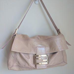 Authentic Fendi patent leather baguette large bag
